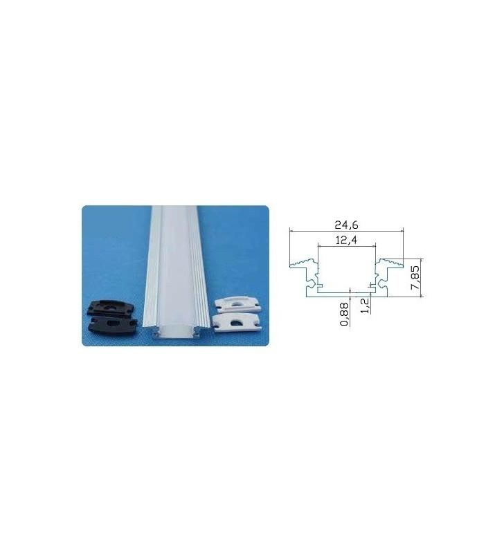 Barra alluminio da incasso per stripled 1mt trasparente