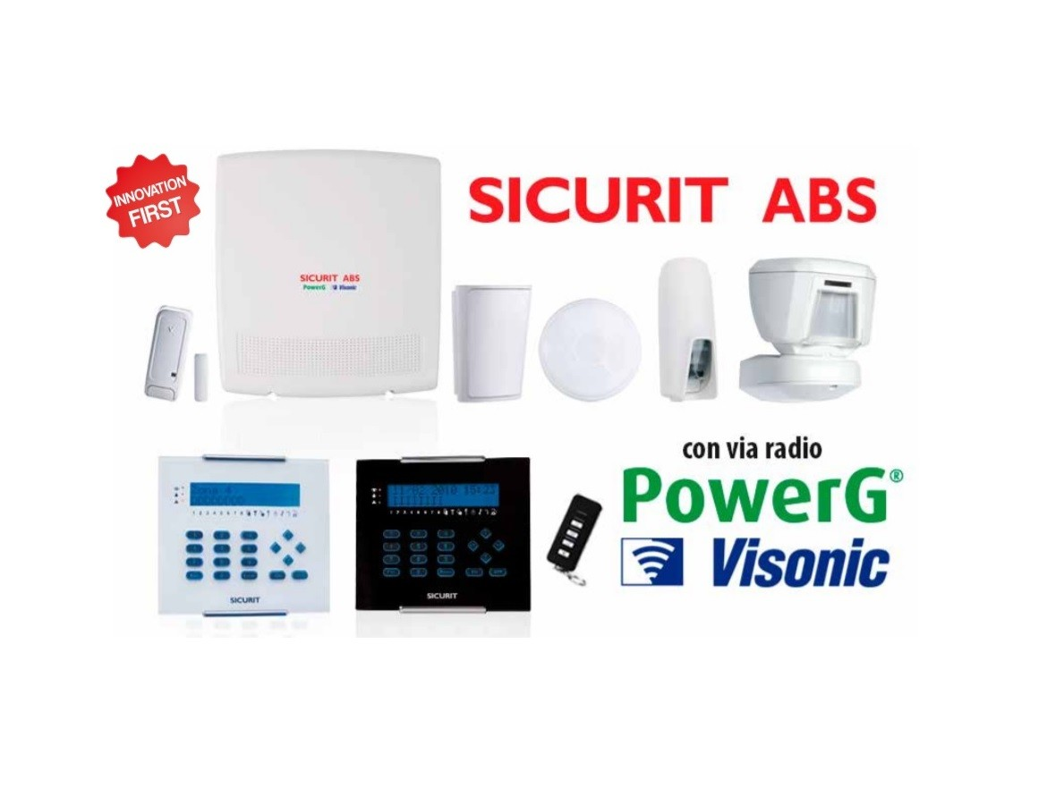 Centrali ibride Visonic serie ABS PG via radio PowerG®